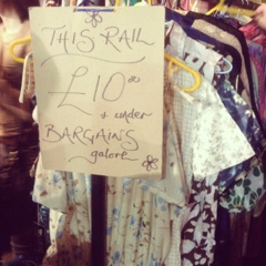 Vintage rail £10 and less at Judy's Vintage Fair Manchester